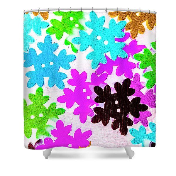 Button Blizzard Shower Curtain