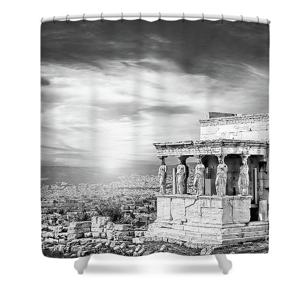 Bw - The Caryatids Of Acropolis In Athens, Greece Shower Curtain