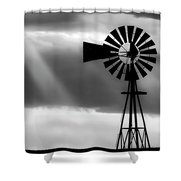 Bw Windmill And Crepuscular Rays -01 Shower Curtain