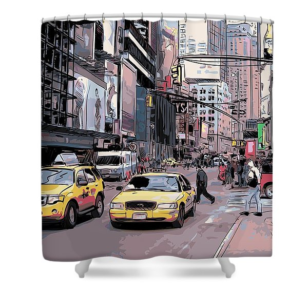 Shower Curtain featuring the drawing Cab City New York by Stanley Mathis