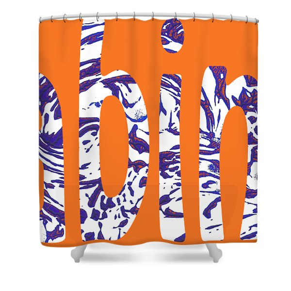 Cabin 7 Blue White Orange Shower Curtain