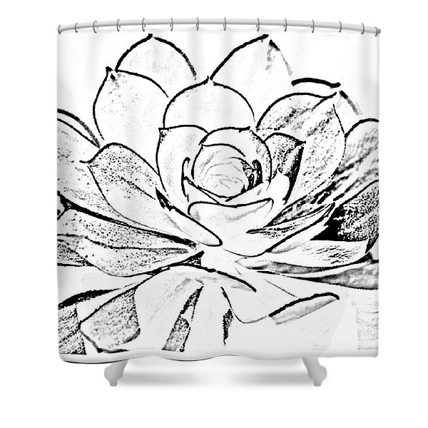 Cactus - B- W  -collabration Shower Curtain