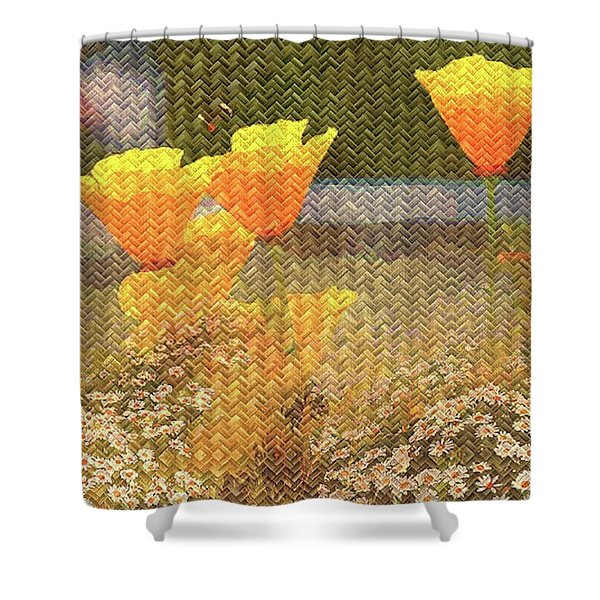 Californian Poppies On Basket Weave Shower Curtain