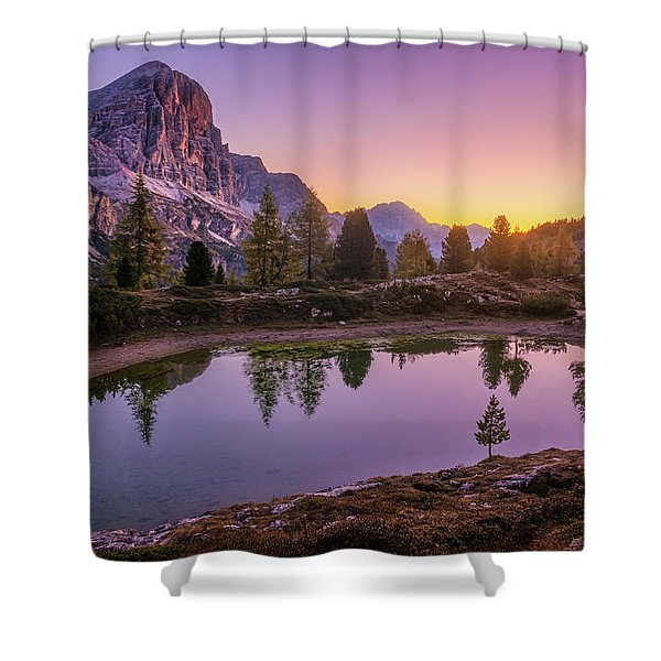 Calm Morning On Lago Di Limides Shower Curtain
