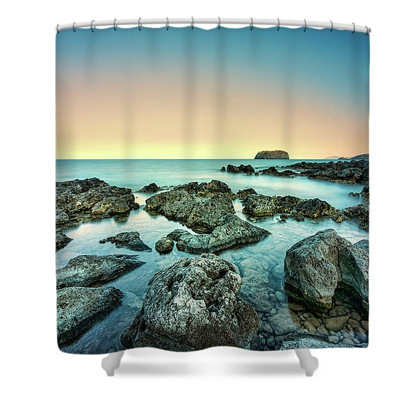 Shower Curtain featuring the photograph Calm Rocky Coast In Greece by Milan Ljubisavljevic