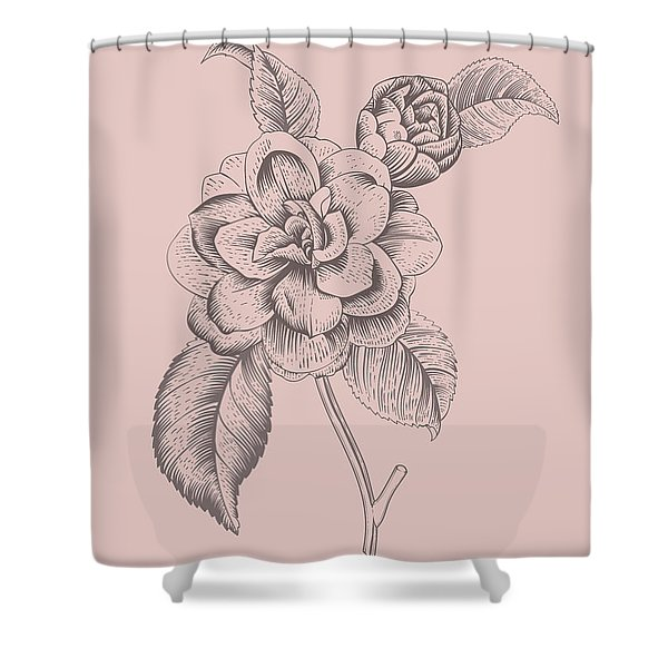 Camellia Blush Pink Flower Shower Curtain