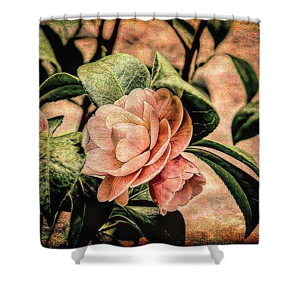 Camellia Grunge Shower Curtain