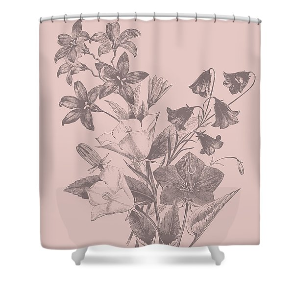 Campanulas Blush Pink Flower Shower Curtain
