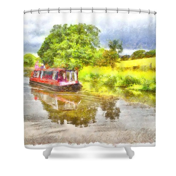Canal Boat On The Leeds To Liverpool Canal Shower Curtain