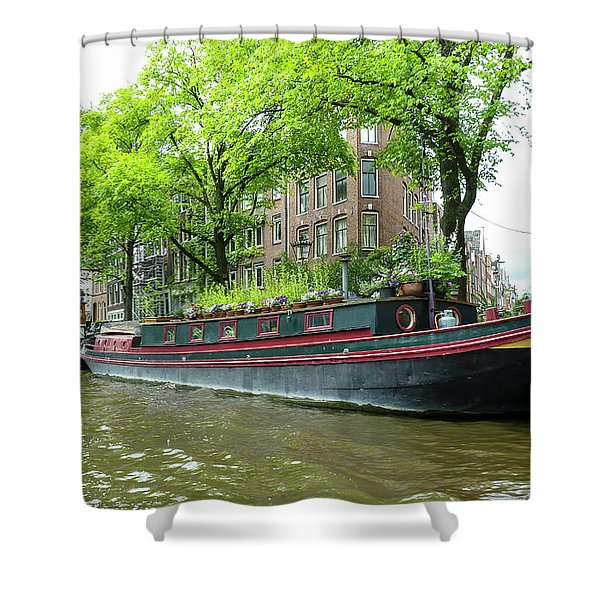 Canal Boats In Amsterdam - 2 Shower Curtain