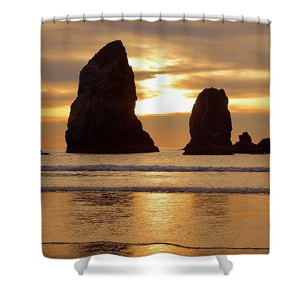 Cannon Beach November Sunset Shower Curtain