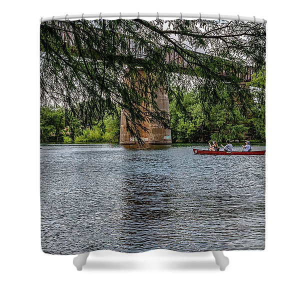 Canoeing Lady Bird Lake Shower Curtain