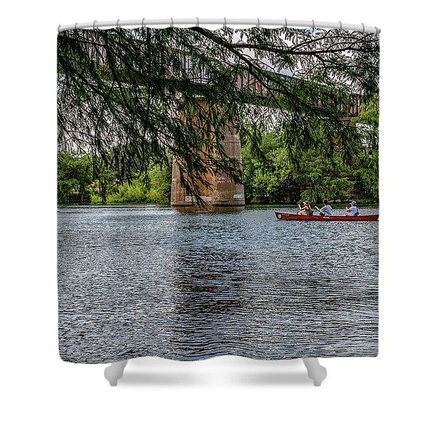 Canoeing Lady Bird Lake Shower Curtain