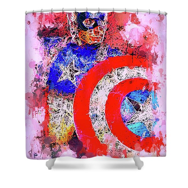 Captain America Watercolor Shower Curtain
