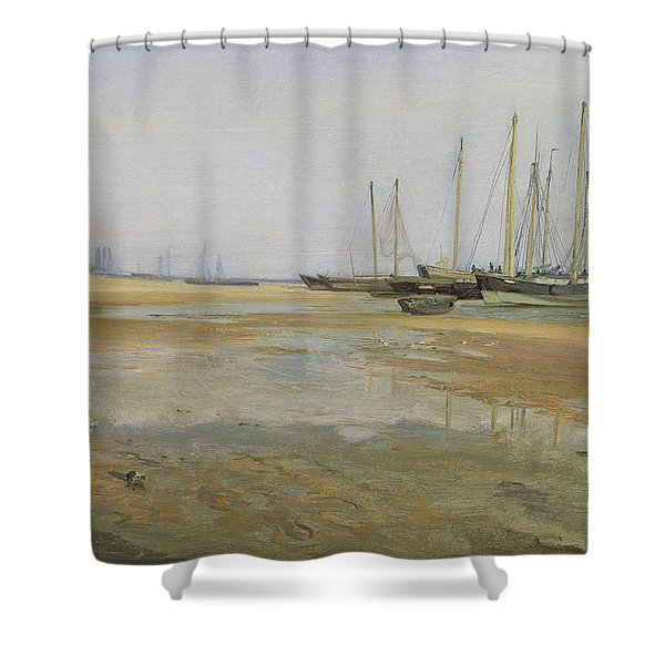 Cargo Ships On The Sands Of The Elbe Shower Curtain