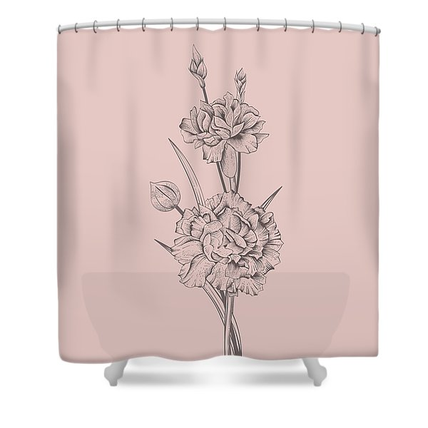 Carnation Blush Pink Flower Shower Curtain