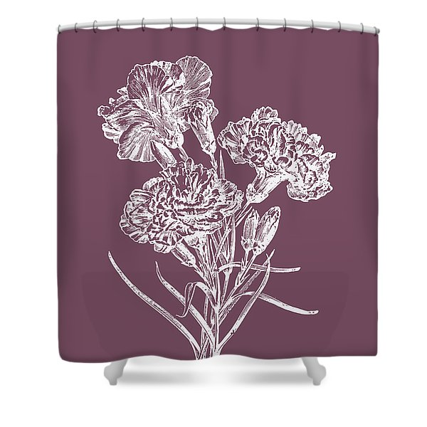 Carnations Purple Flower Shower Curtain