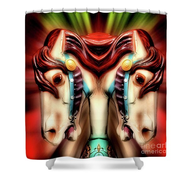 Carousel Horse Abstract Shower Curtain