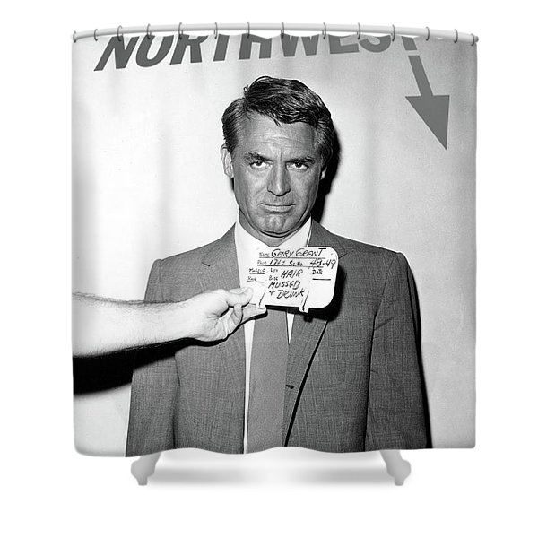 Cary Grant, Screen Test, Wardrobe Test, North By Northwest, Hair Mussed And Drunk Shower Curtain