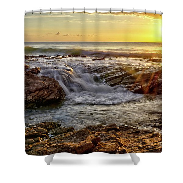 Cascading Sunset At Crystal Cove Shower Curtain