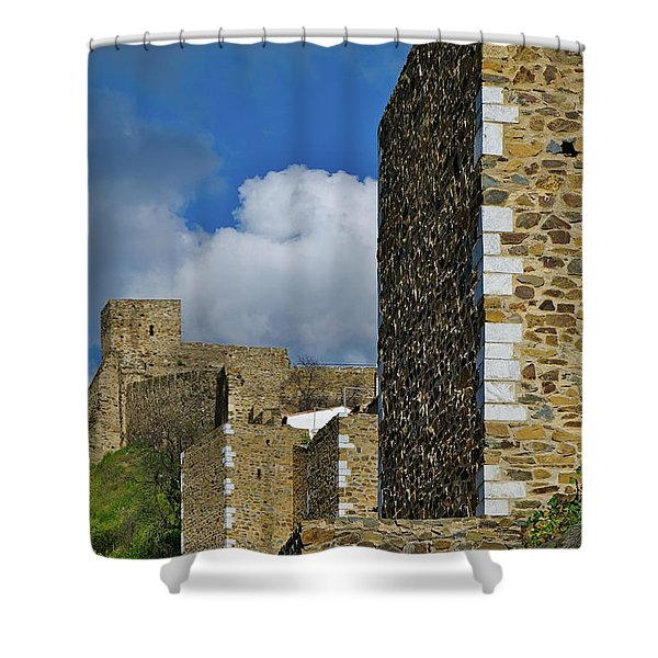 Castle Wall In Alentejo Portugal Shower Curtain