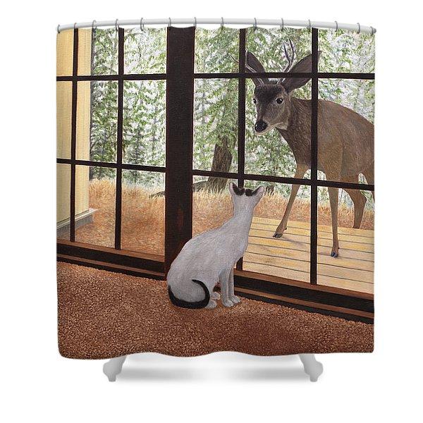 Cat Meets Deer Shower Curtain