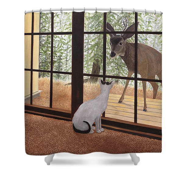 Cat Meets Deer Shower Curtain