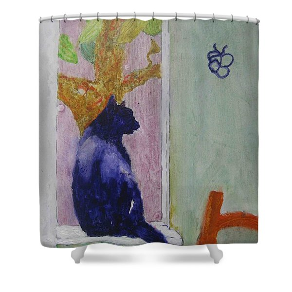 cat named Seamus Shower Curtain
