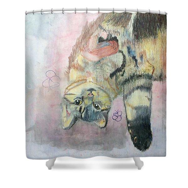 Playful Cat Named Simba Shower Curtain