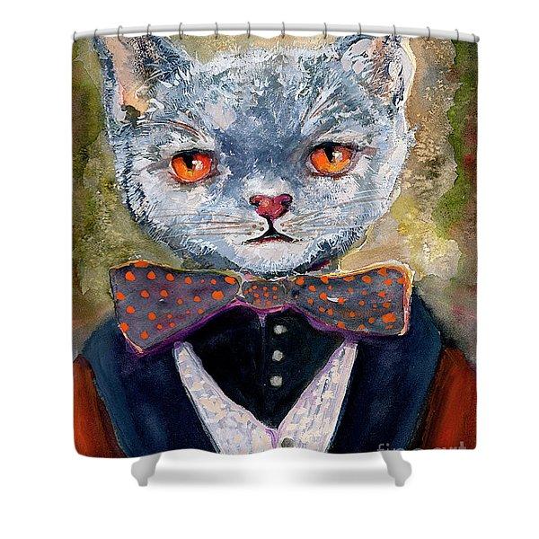 Cat Portrait Einstein Shower Curtain