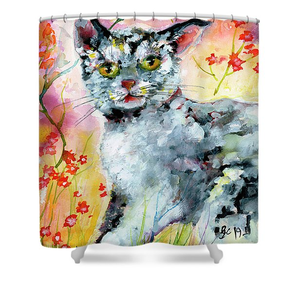 Cat Portrait My Name Is Hobo Shower Curtain