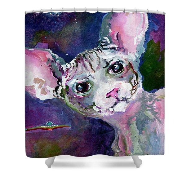 Cat Portrait My Name Is Luna Shower Curtain