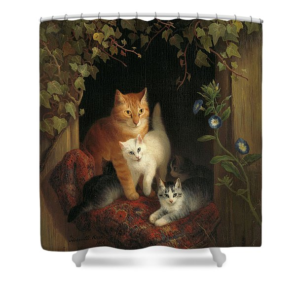 Cat With Kittens, 1844 Shower Curtain