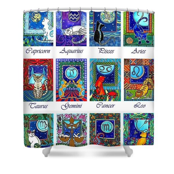 Cat Zodiac Astrological Signs Shower Curtain