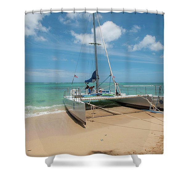 Catamaran On Waikiki Shower Curtain
