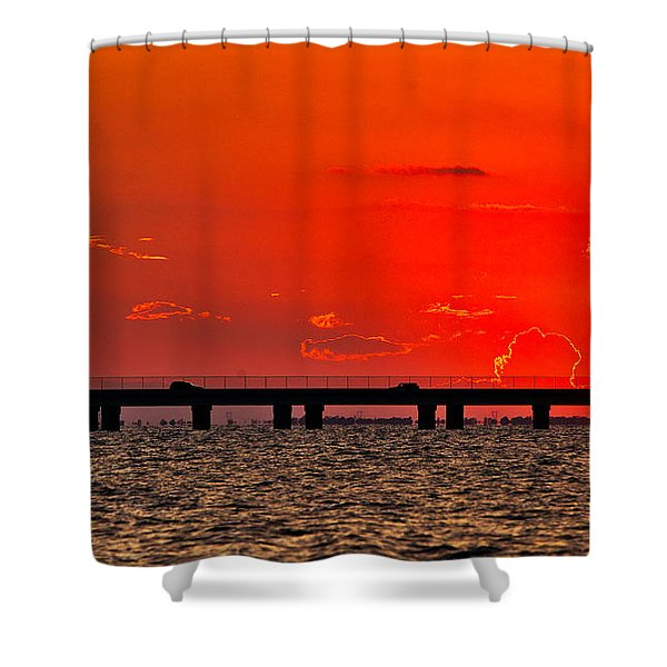 Shower Curtain featuring the photograph Causeway Sunset by Tom Gresham