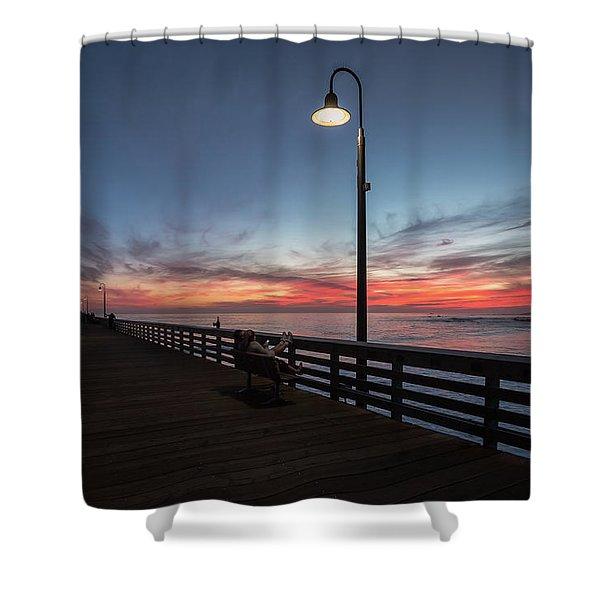 Cayucos Pier Sunset Shower Curtain