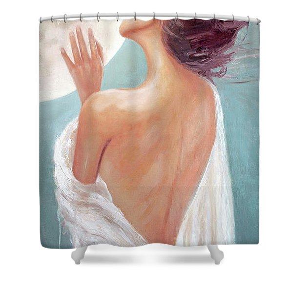 Celestial Moon Goddess Shower Curtain
