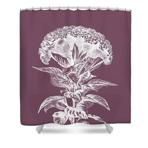 Celosia Purple Flower Shower Curtain
