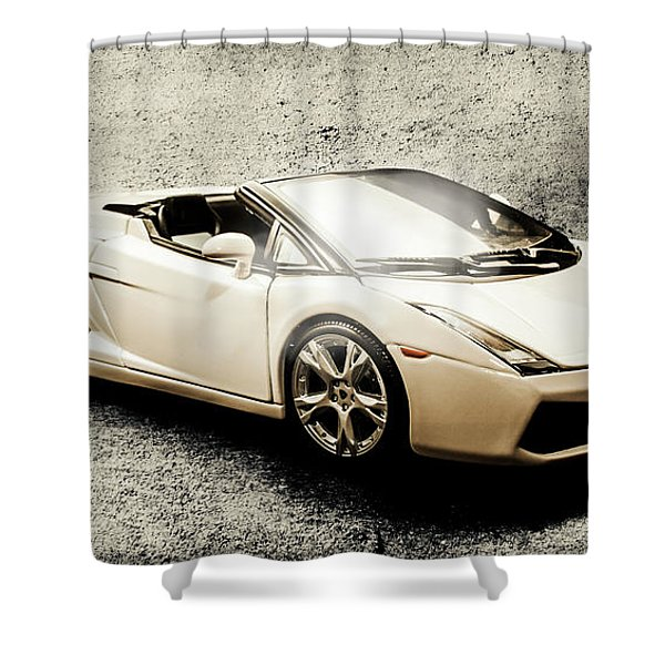 Cement And Chrome Shower Curtain
