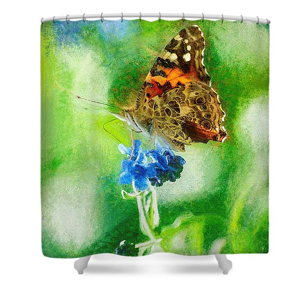 Chalky Painted Lady Butterfly Shower Curtain