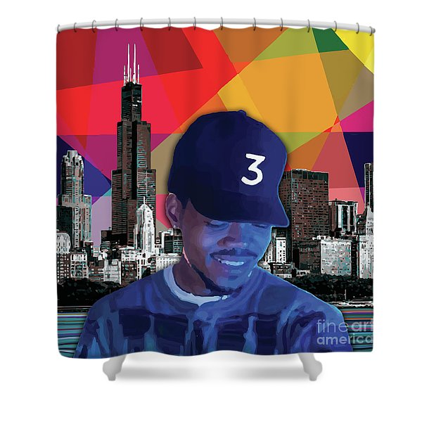 Shower Curtain featuring the painting Chance Chicago by Carla B