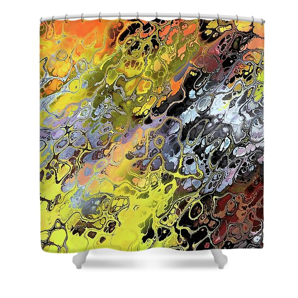 Chaos Abstraction Orange Shower Curtain