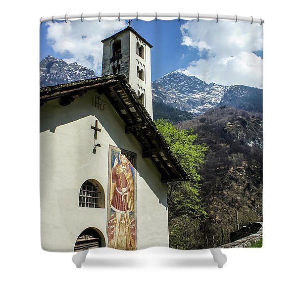 Shower Curtain featuring the photograph Chapel Of Santa Maria Of Castello, Mesocco, Switzerland by Dawn Richards