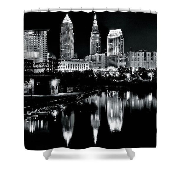 Charcoal Night View Of Cleveland Shower Curtain