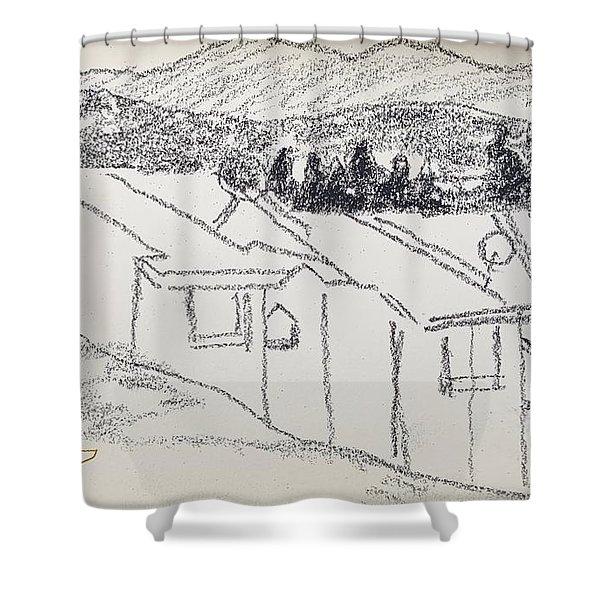 Charcoal Pencil Houses1.jpg Shower Curtain