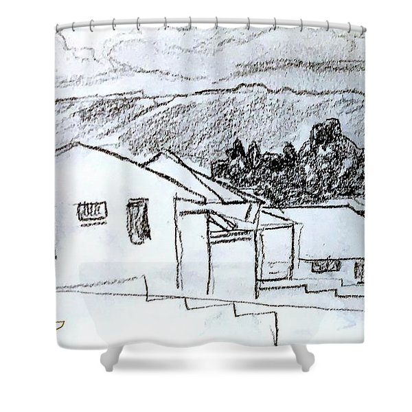 Charcoal Pencil Houses.jpg Shower Curtain