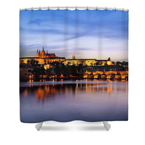 Shower Curtain featuring the photograph Charles Bridge by Milan Ljubisavljevic