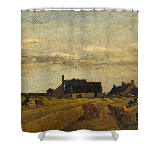Charles-francois Daubigny - Farm At Kerity, Brittany Shower Curtain