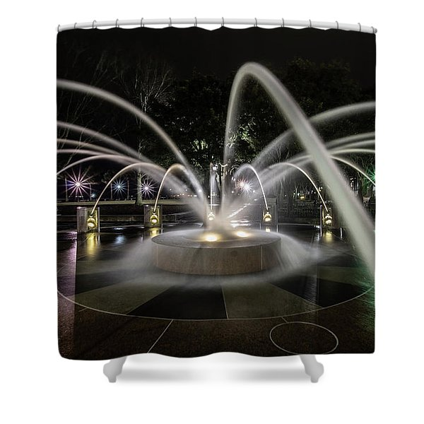 Charleston's Splash Fountain At Night Shower Curtain